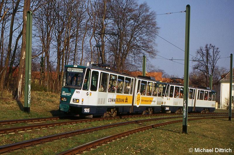 Bild: 105 und 205 als Linie 92 in Höhe der ehem. Haltestelle Kappelenberg.