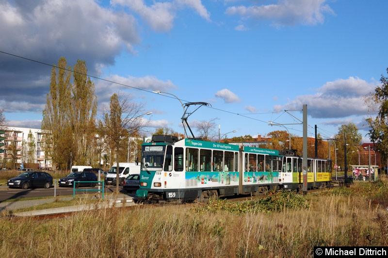 Bild: 159 und 161 als Linie 96 an der Abfahrthaltestelle Viereckremise.