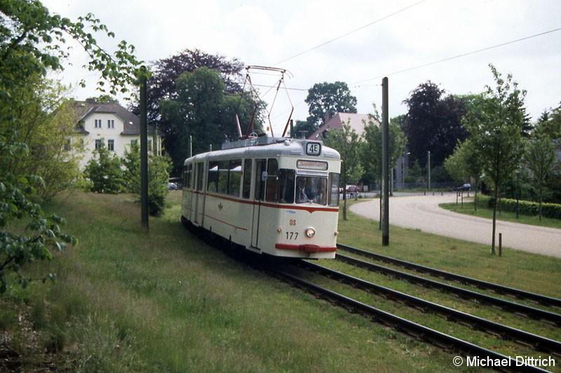 Bild: Der Wagen 177 der Potsdamer Straßenbahn war der vierte Wagen im Fahrzeugkorso.