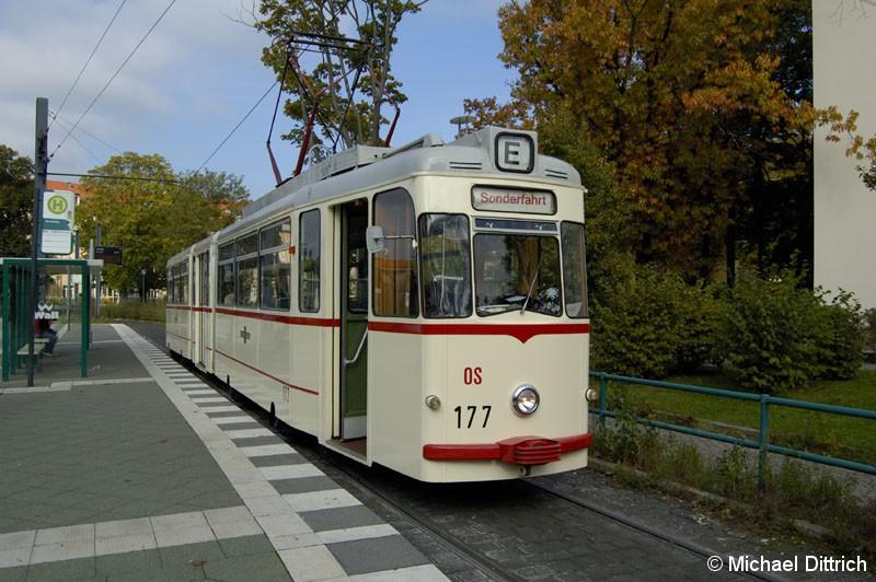 Bild: 177 als TRAMTours 2007 an der Haltestelle