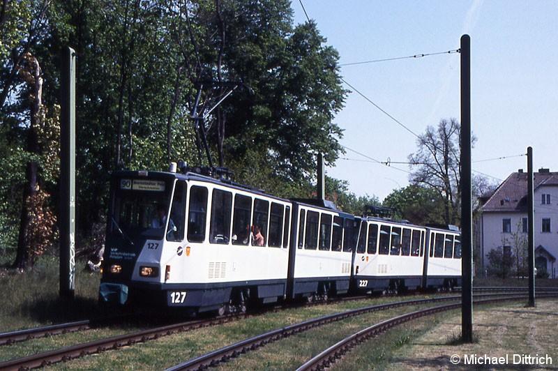 Bild: 127 und 227 als Linie 90 in Höhe der ehem. Haltestelle Kappelenberg.