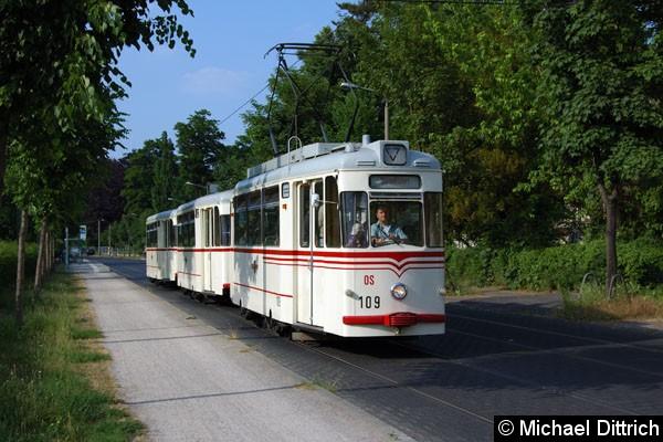 Bild: Der aus den Wagen 109 + 214 + 218 bestehende Museumszug der Bauart Gotha in der Puschkinallee