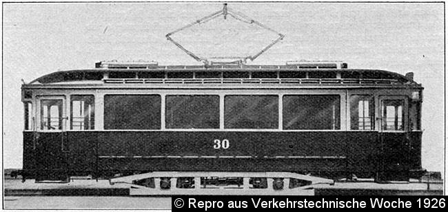 Bild: Seitenansicht des Wagen 30, Repro aus Verkehrstechnische Woche 1926