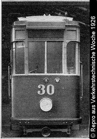 Bild: Frontansicht des Wagen 30, Repro aus Verkehrstechnische Woche 1926