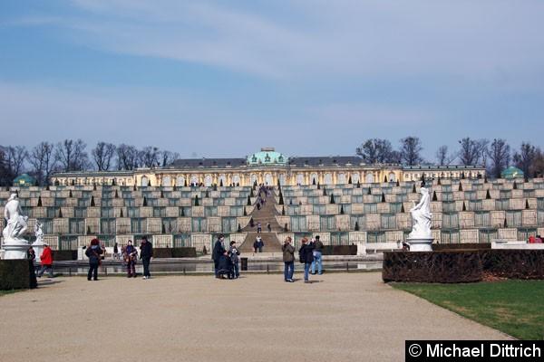 Bild: Blick auf das Schloss Sanssouci